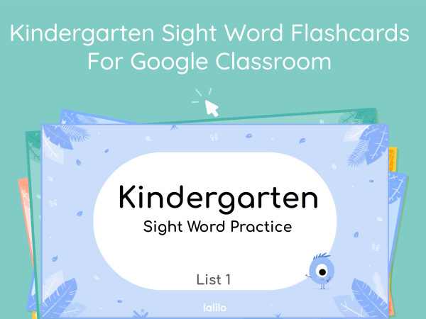 Kindergarten Sight Word Flashcards for Google Classroom