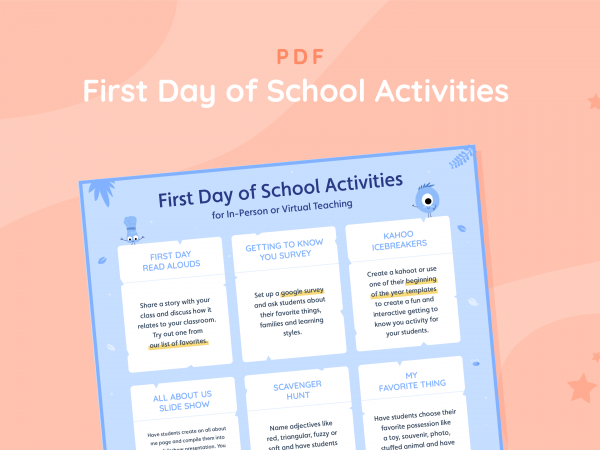 First Day of School Activities  for In-Person or Virtual Teaching