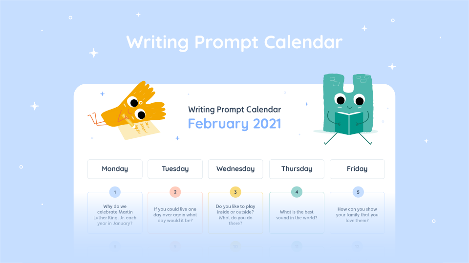 Lalilo February '21 Writing Prompt Calendar