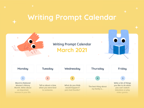 Lalilo March '21 Writing Prompt Calendar