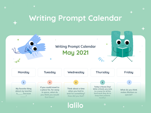 Lalilo May '21 Writing Prompt Calendar