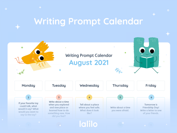 Lalilo August Writing Prompt Calendar