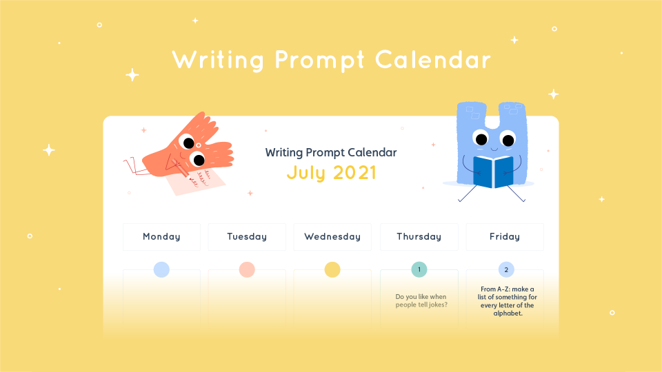 Lalilo July Writing Prompt Calendar
